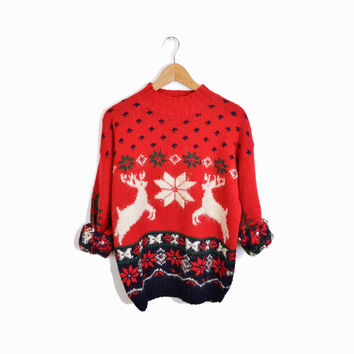 Vintage 80s Ugly Christmas Sweater - Hand Knit Snowflakes & Reindeer Sweater - women's medium