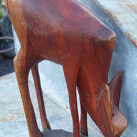 Vintage Carved Wooden African Deer...Antelope...Wood Figurine...Mid Century Mod... Swanky...Boho Chic Decor...Mad Men