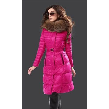 Moncler Fur Hooded Long Down Coat Womens Luxury Outerwear 8815 Rose red