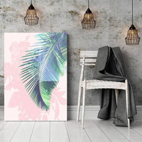 Pink and blue, palm leaf print, art poster, printable, home decor, botanical art, pastel tropical, palm leaf, wall art, affiche tropical