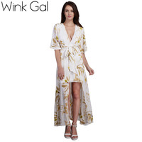 Wink Gal Sexy Maxi Dress Beach Dress Boho Summer Style Keyhole Back Floral Print Casual Dress 3178