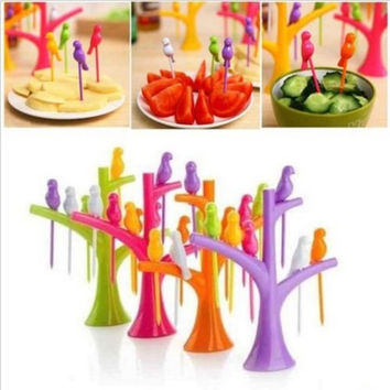 New Hot Fashion nice Bird Fruit Snack Dessert Forks+ Tree Shape Holder For Party Home Decor Hall = 1946156100