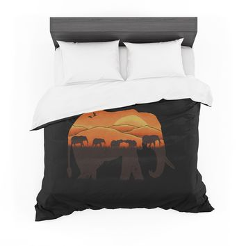 "Eikwox ""African Elephant"" Brown Orange Illustration Digital Animal Print Nature Featherweight Duvet Cover"
