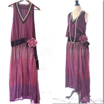 Fall Gatsby style drop waist dress, Holiday maxi dress, Romantic burgundy dress, Shabby cottage chic french party dress True rebel clothing