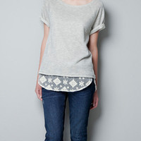 T-SHIRT WITH A LACE HEM AND A BOW - T-shirts - Woman - ZARA United States
