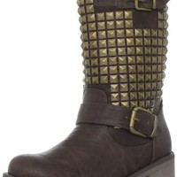 Wanted Shoes Women's Motor Motorcycle Boot,Brown,8 M US