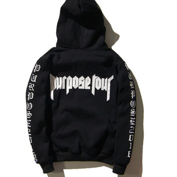 High Quality New Hip Hop Streetwear Men's Hoodie Justin Bieber Staff Purpose Tour Hoodie in Black Staff Size S-3XL