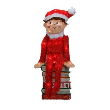 "24"" Pre-Lit Elf on the Shelf 3-D Sitting Elf on Books Christmas Yard Art Decoration - Clear Lights"