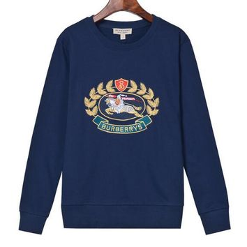 Burberry Newest Fashion Women Men Casual Embroidery Long Sleeve Sweater Top Sweatshirt Blue I13895-1