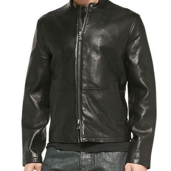 John Varvatos Star USA  Lace-Stitched Leather Jacket