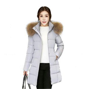 2017 Winter jacket woman 100%Polyester Long Aux Fur Collar Hooded Cotton Warm Hooded Coat For Women Anorak Size M - XXXL