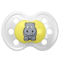 Cute Hippo Baby Lemon Yellow Pacifier from Zazzle.com