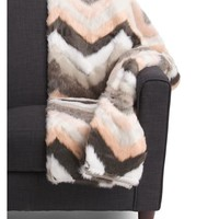 Pink Natural Chevron Fur Throw