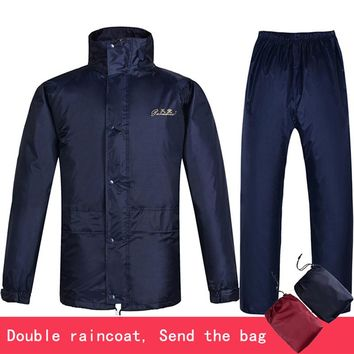 Double layer waterproof jacket+pants Men's suit Windbreaker Single thicken Jackets loose raincoat outfits 1.4kg