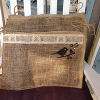 Rustic mail pouch with bird design, mud room mail holder, burlap decor, farm house decor