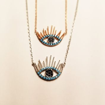 Solid 925 Sterling Silver Black Blue Zirconia Evil Eye with Eyelash Necklaces