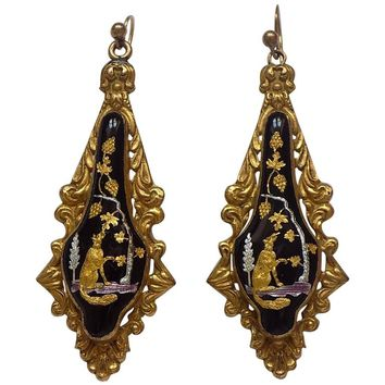 "Victorian Aesop's Fable ""The Fox and Grapes"" Drop Earrings"