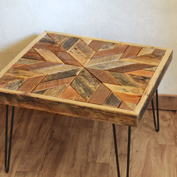 Star Pattern Coffee Table with Hairpin Legs - Barn wood - Repurposed wood - chevron