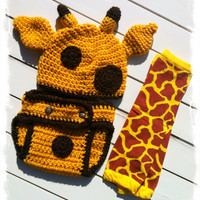 Baby Boys Crochet Giraffe Beanie and Diaper Cover Set-Newborn Photo Prop-Baby Boys Crochet Giraffe Set-New Baby Gift