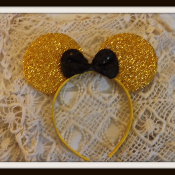 Gold Minnie Mouse Ears Headband Gold ears Black Bow Mickey Mouse Ears, Disneyland