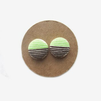 Lime Candy Striped Fabric Earrings // Striped Studs // Summer // Fall // Nickel Free // Lime Green // Southern Rustic Charm // Green Studs /