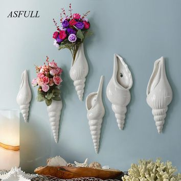 Simple modern three-dimensional mural wall flower vase conch creative background wall decoration Home Furnishing Free