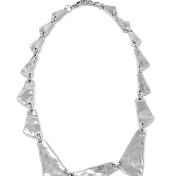 Uno de 50 large Be Sharp Silver Plated Necklace COL1001MTL000U