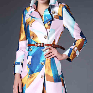 Block Printed Long-Sleeve Notched Trench Coat With Belt