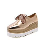 Creepers Casual Square Toe Pumps High Heels Shoes