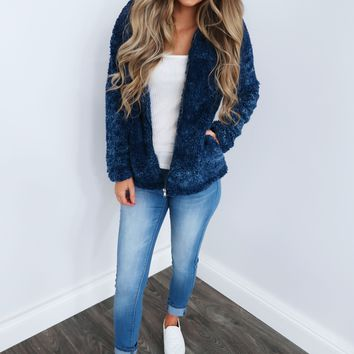 Teddy Bear Jacket: Navy