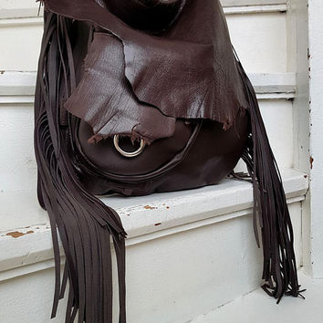 Dark chocolate brown leather hobo bag asymmetrical tribal bohemian boho festival  purse sweet smoke free people bag moroccan silver ring