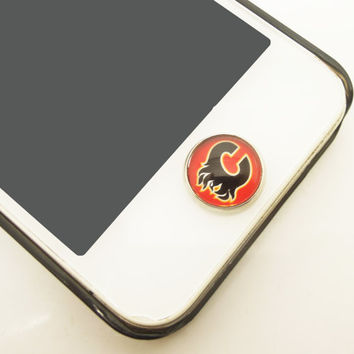 1PC Retro Epoxy Transparent Time Gems Alloy Calgary Flames Cell Phone Home Button Sticker Charm for iPhone 6,4s,4g,5,5c Gift for Him