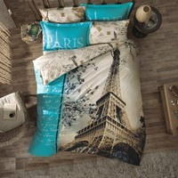 100% Cotton 3pcs Paris in Autumn Single Twin Size Duvet Cover Set Eiffel Theme Bedding Linens:Amazon:Home & Kitchen