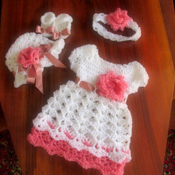 Crochet Baby Girl Set PATTERN, Baby Girl Dress Pattern, Baby Headband Pattern, Baby Mary Jane Booties, Girl Hat Pattern