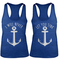 Shirts By Sarah Women's Nautical Anchor Best Friend Tank Tops