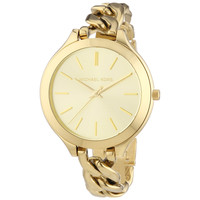Michael Kors MK3222 Women's Slim Runway Gold Dial Yellow Plated Steel Twist Bracelet Watch