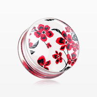 A Pair of Red Cherry Blossom Clear UV Double Flared Ear Gauge Plug