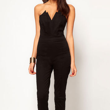 Plus Size Black Strapless Pleated Bust Jumpsuit