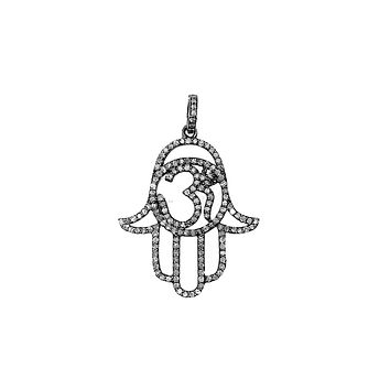 SP-9098-BR Sterling Silver Hamsa OM Enamel Pendant With Champagne Diamond and Black Rhodium Plated 40X28MM