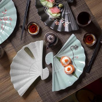 Creative Tableware Japanese Style and Glaze Hand-painted Ceramic Plate Fan-shaped Dish Sushi Sashimi Platter Plate Decoration