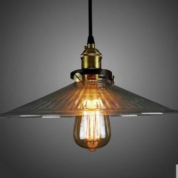 Edison Loft Style Vintage Pendant Lights Industrial Lighting With Glass Lampshade,