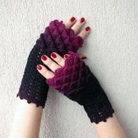 Crocheted crocodile stitch mittens fingerless gloves - black and wine red, burgundy, dark pink Transitional. Spring Accessories.