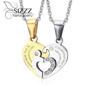 Black/Gold/Blue  Titanium Two Half Heart Necklaces For Couples Lover Heart Pendant Set Beautiful Gift