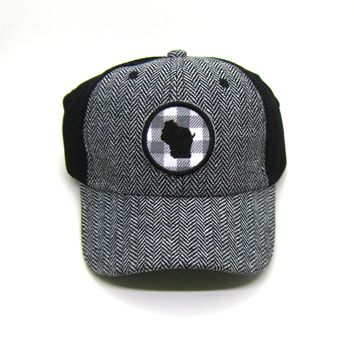 Wisconsin Herringbone Trucker Hat - White Gray Buffalo Check Patch