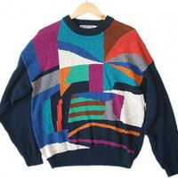 Vintage 80s Abstract Angry Face Cosby Ugly Sweater Men's Size XL $30 - The Ugly Sweater Shop