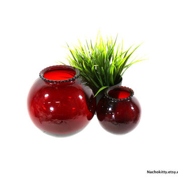 1920s Vase Set, Ruby Red Glass, Large & Small, Window Display