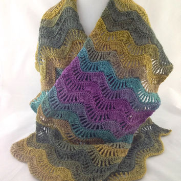 Feather and Fan Scarf - Wrap - Scarf - Crochet Scarf - Neckwarmer - Lace - Wool - Silk - Blue - Green - Purple - For Her - For Mom