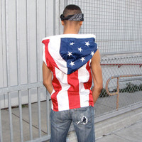 Embroidered American Flag Clothing - mens hoodie pull over - mens jacket - mens vest - handmade clothing - upcycled clothing