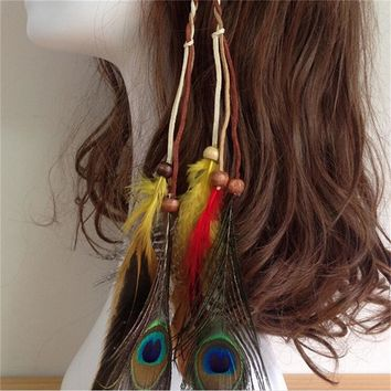 New  Indian Beads Feathers Gypsy Hair Headband for Women Girl Boho Hair Accessories Feather Knitted Belt Hair Band