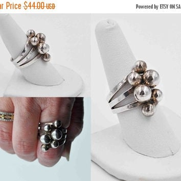 ON SALE Vintage 925 Sterling Silver Ball Cluster Ring, Modernist, Crisscross, Woven, Large, Bold, Chunky, Size 8 3/4, So Mod! #b807